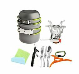 12 Pcs Camping Set Picnic Pot Pan Cookware Stove Spoon Cutle