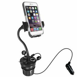 Macally Car Cup Holder Phone Mount with Two High Powered USB