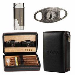 Cedar Lined Cigar Case Travel Humidor W/Cutter Lighter Set 4