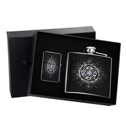 Celtic Stars - 5 oz. Silver Lighter & Flask Gift Set Box