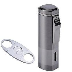 BS Cigar Cutter and Lighter Set, Cigar Punch Lighter Triple