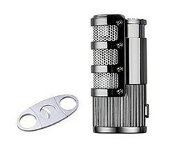 Cigar Torch Lighter JOBON Triple Jet Butane Refillable W/Cig