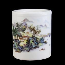 Classical Simple Ceramic Round Desk Pen Holder Creative Pers