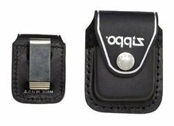 Zippo Clip-On Black Leather Pouch, For Zippo Lighters, Metal
