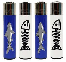 "Clipper Lighter""Bone Fish and Shark"" Designs - 4 Item Bundle"