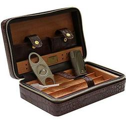 Coh Leather Travel Case with Cutter and Lighter - 4 Cigars -