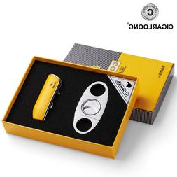 For COHIBA Cigar Lighter Set with Stainless Cigar Cutter Cig