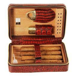 CIGARISM Crocodile Style Leather Cigar Travel Case Humidor L