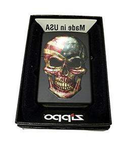 Zippo Custom Lighter - American Flag on Skull - Regular Blac