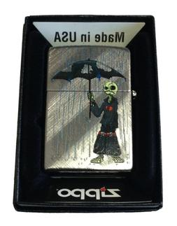 Zippo Custom Lighter - Gray Days EMO Punk Skull Guy w/ Rain