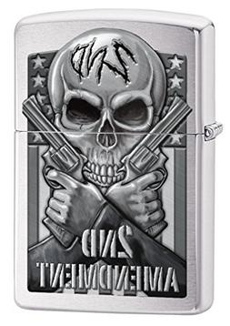 Zippo Custom Lighter: Second Amendment, Skull and Guns - Bru