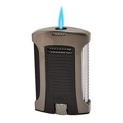 "Colibri ""Daytona"" Single Jet Flame Lighter / Gunmetal & Blac"