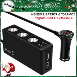 DC12V 4 USB Ports 3 Way Socket Cigarette Lighter Splitter Ca