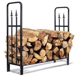 Goplus Firewood Log Rack Indoor Outdoor Fireplace Storage Ho
