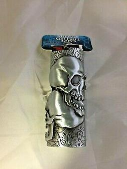 Mystic Double Skull Fits Bic Pewter Lighter Holder Case Cove