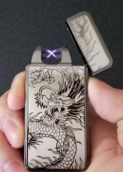 Dual Arc Black Dragon Electric Lighter - Rechargeable, Windp