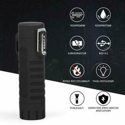Dual Arc Lighter with LED Flashlight Windproof Waterproof Re