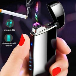 Dual Arc Plasma Lighter Electric Flameless Windproof USB Rec
