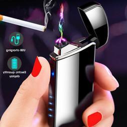 Dual Arc Plasma Lighter Electric Flameless Windproof USB Rec