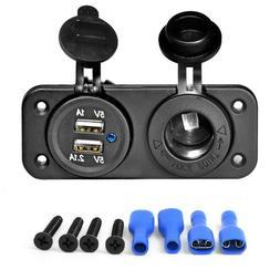 Dual Car Cigarette Lighter Socket Splitter 12V Charger USB P