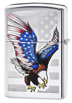Zippo Eagle Flag High Polish Chrome Lighter