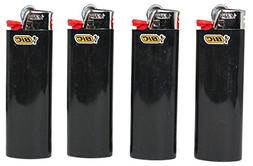 Lot of 4 Bic Ebony Jet Black Full Size Lighters New