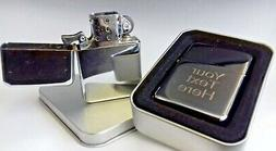 Engraved SILVER Personalised Star Petrol Lighter Birthday Be