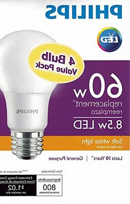 Philips New 60-Watt Equivalent A19 LED Light Bulb Soft White
