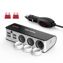 ESTEK 3-Socket 200W 12V/24V DC Cigarette Lighter Power Adapt