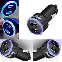Fashion Double USB Port LED Universal Car Cigar Socket Light
