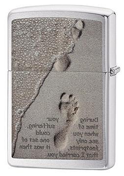 Zippo Footprints Pocket Lighter, Brushed Chrome