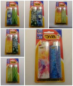 *FREE SHIPPING* 2 PACK BIC LIGHTERS GEOMETRIC NATURE EDITION