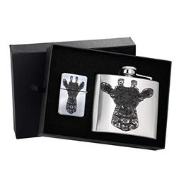 Giraffe Henna - 5 oz. Silver Lighter & Flask Gift Set Box