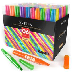 Arteza Highlighters Set of 60, Bulk Pack of Colored Markers,