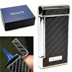 Caseti Jet Flame Cigar Lighter - Carbon Fiber Effect and Chr