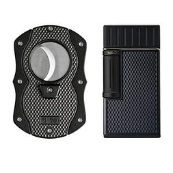 Colibri Julius Lighter and Monza Cutter Gift Set - Black & B