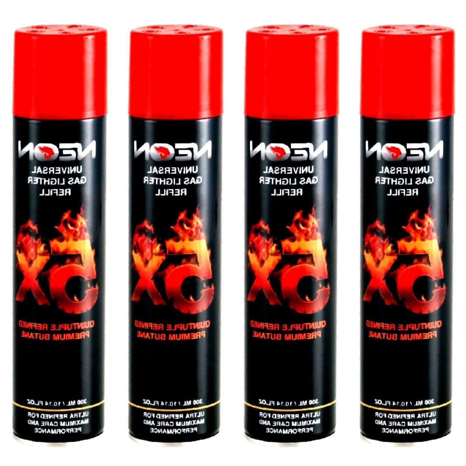 4 Cans Neon Universal Gas Lighter Refill 300 Ml- 5X Refined