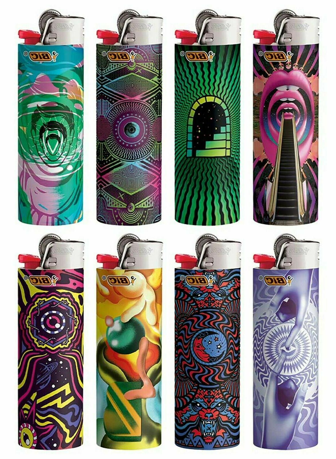 8 lighters prismatic swirling patterns
