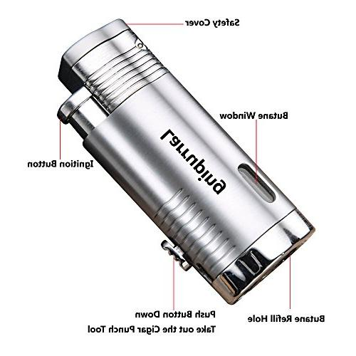 Jet Lighter,Torch Lighter Turbo Triple Flame Butane Torch with Punch Cutter and Butane for Men