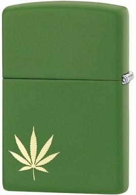 Zippo Windproof Laser Engraved Gold Marijuana Leaf Lighter,