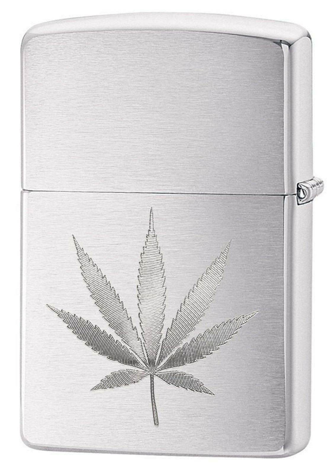 Zippo Lighter: Engraved Weed Leaf - Brushed Chrome 29587