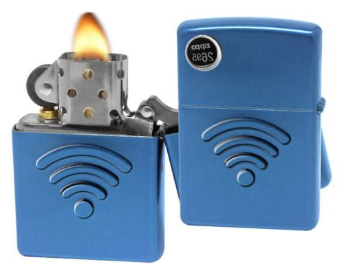 Zippo Wi-Fi Symbol Cerulean Stamped Debossed 3D Design Windp