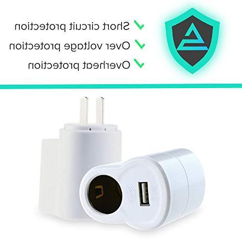 AC Socket Converter, to Car Cigarette Lighter With USB AC 110~220V