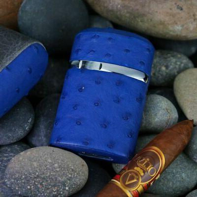 BRIZARD & CO TRIPLE JET TORCH CIGAR TABLE LIGHTER BLUE OSTRI