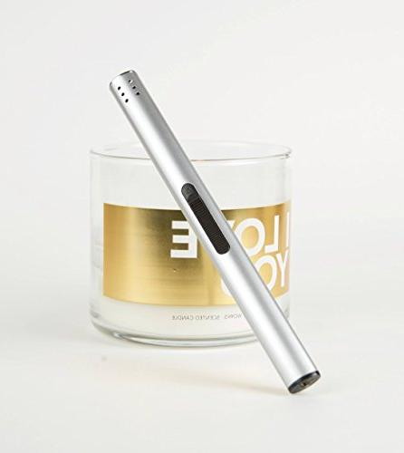 Butane Lighter flame for candles, fireplace, stove, BBQ, Christmas, kitchen - In Modern Rechargeable