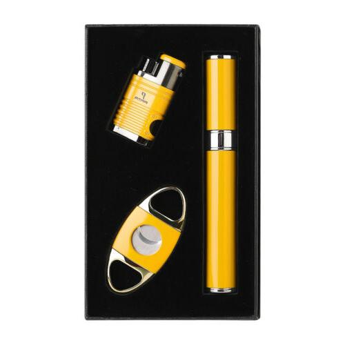 PIPITA Cigar Gift Set 4 Torch Butane Gas Cigar Lighter + Tub