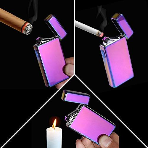 lcfun Dual Arc Plasma Lighter Flameless Electric Cigar,Candle
