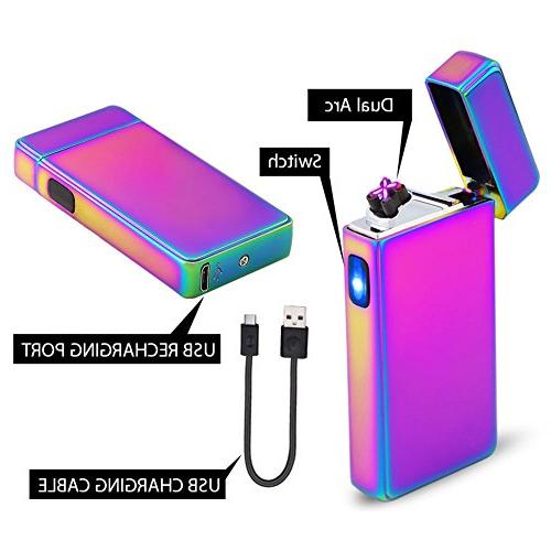 lcfun Dual Arc Lighter USB Rechargeable Flameless Electric Cigar,Candle