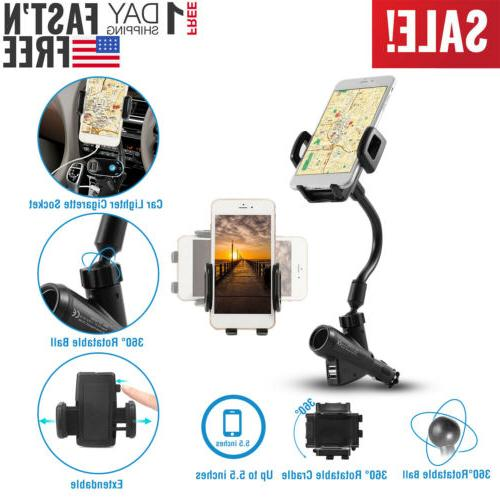 Dual USB Car Charger Cigarette Lighter Mount Holder For Cell