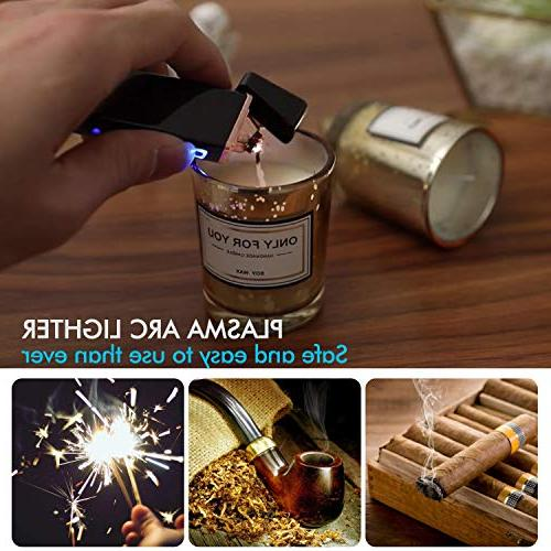 Lighter, Electric Arc Lighter USB Rechargeable Lighter Lighter with Battery Cigarette, Candle